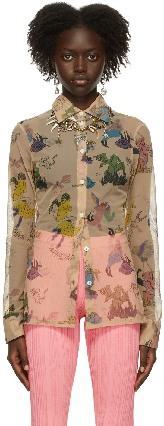 Beige Print Tulle Shirt