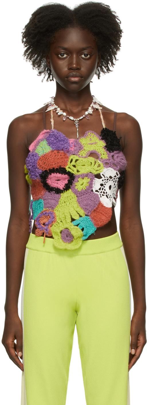 Multicolor Crochet Halter Tank Top