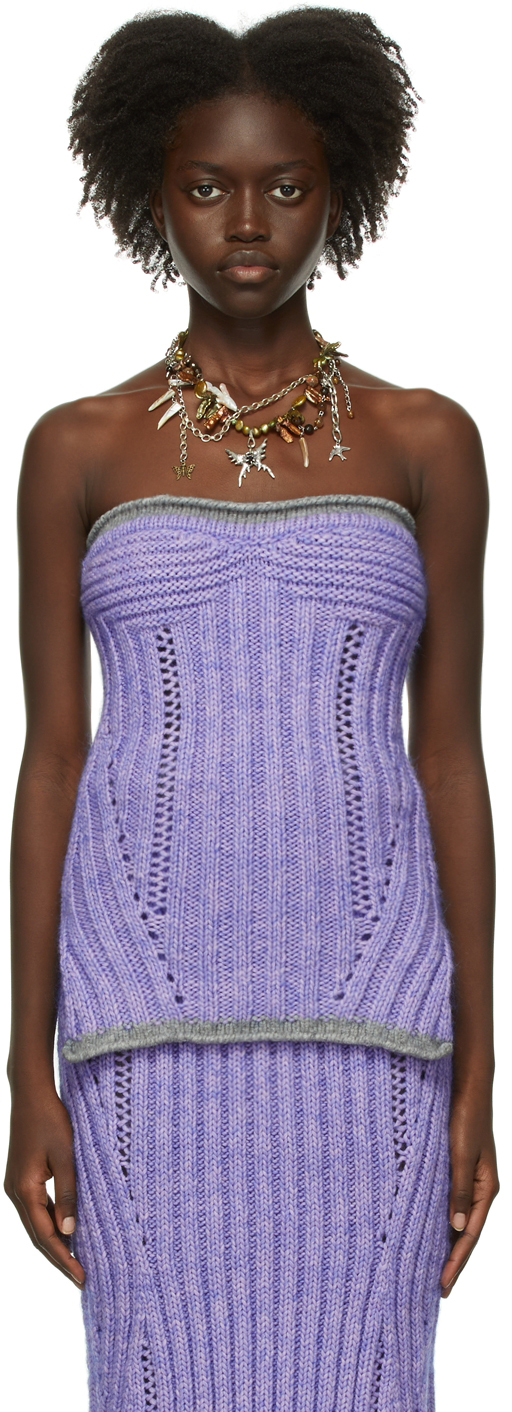 Purple Wool Knit Tube Top