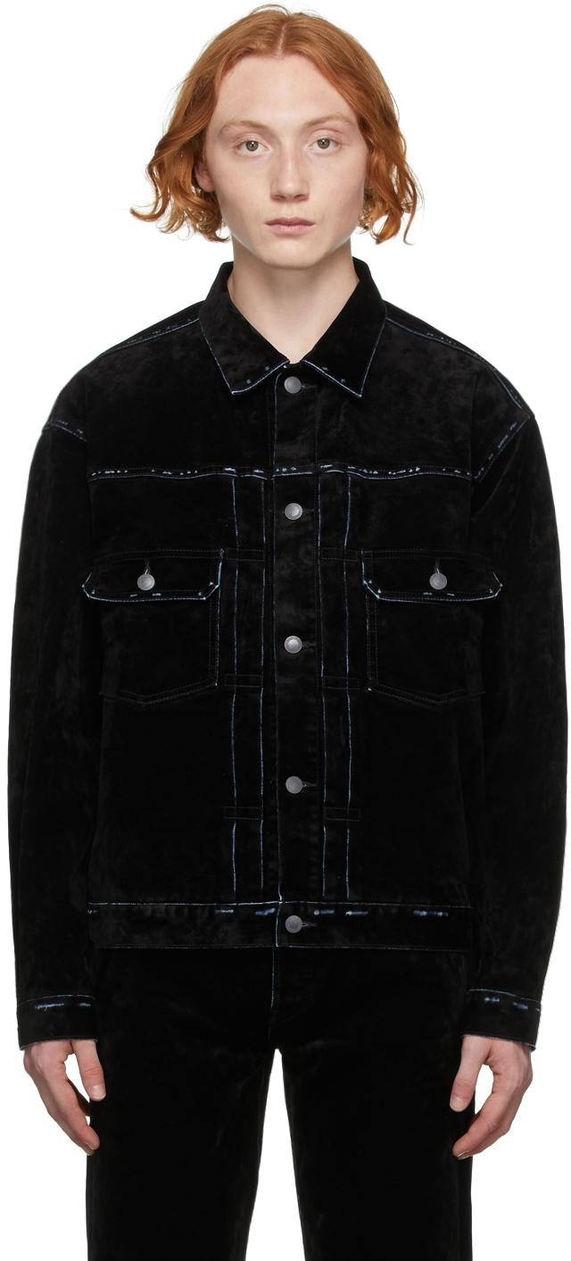 Black Flocked Denim Jacket