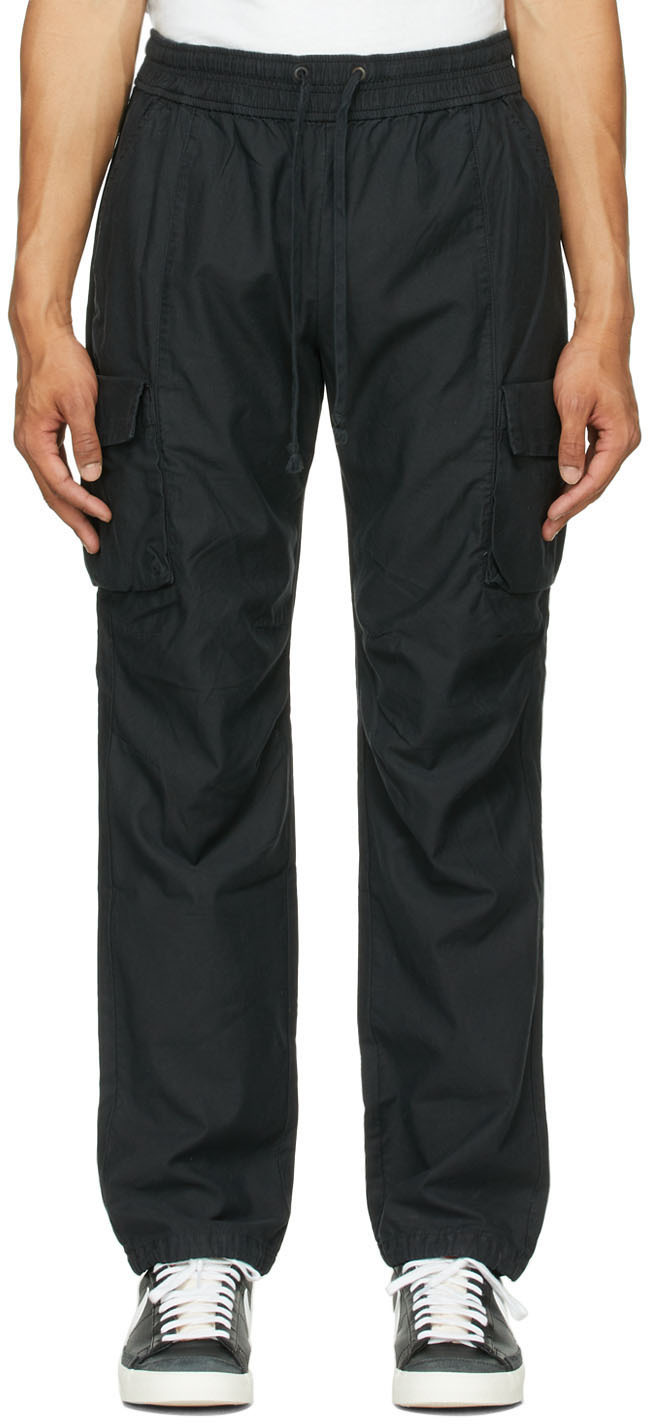 Black Sateen Cargo Pants