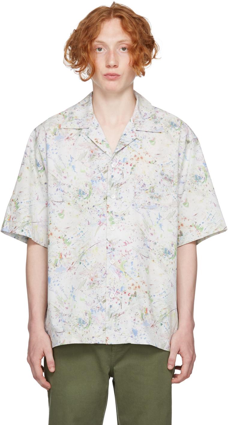 White & Multicolor Camp Short Sleeve Shirt