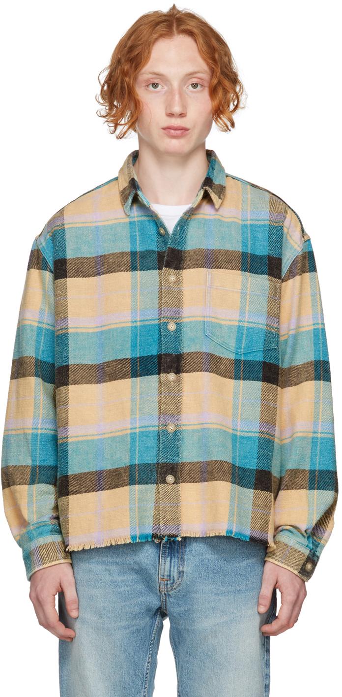 Beige & Blue Check Oversized Hemi Shirt
