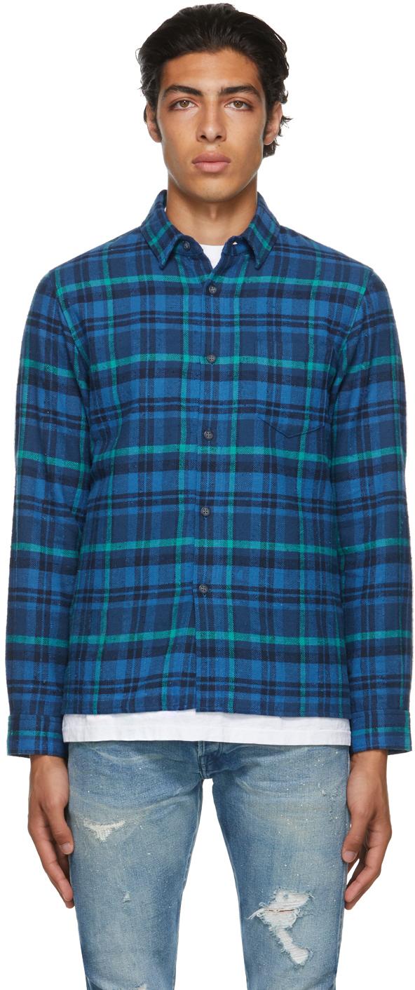 Blue Plaid Sly Straight-Hem Shirt