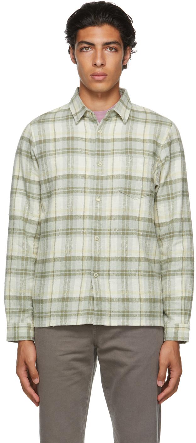 Green Plaid Sly Straight-Hem Shirt