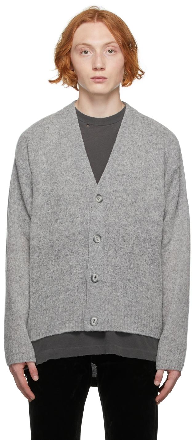 Grey Wool Powder Cardigan
