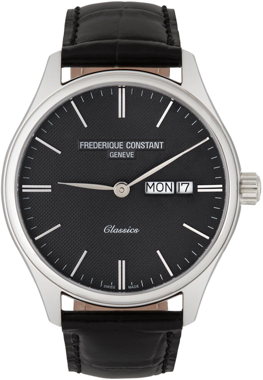 Silver & Black Classics Quartz Day-Date Watch