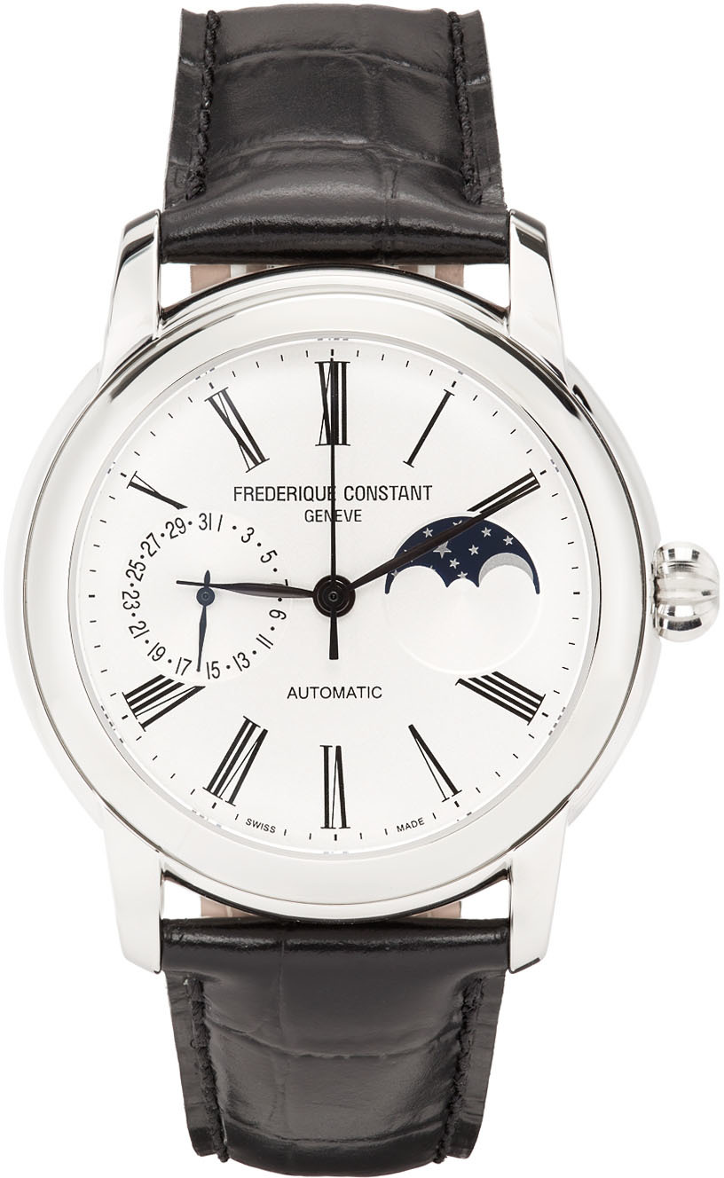 Black & Silver Classic Moonphase Watch