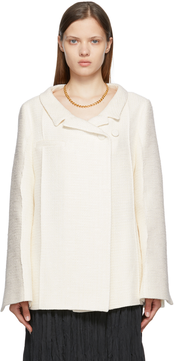 Totême Off-white Bouclé Tweed Blazer In 105 Creme