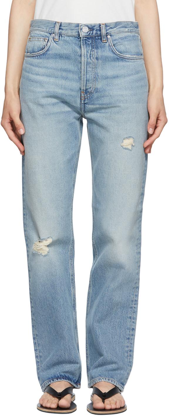 Totême Blue Ease Loose Fit Jeans In 404 Distressed Lt Bl