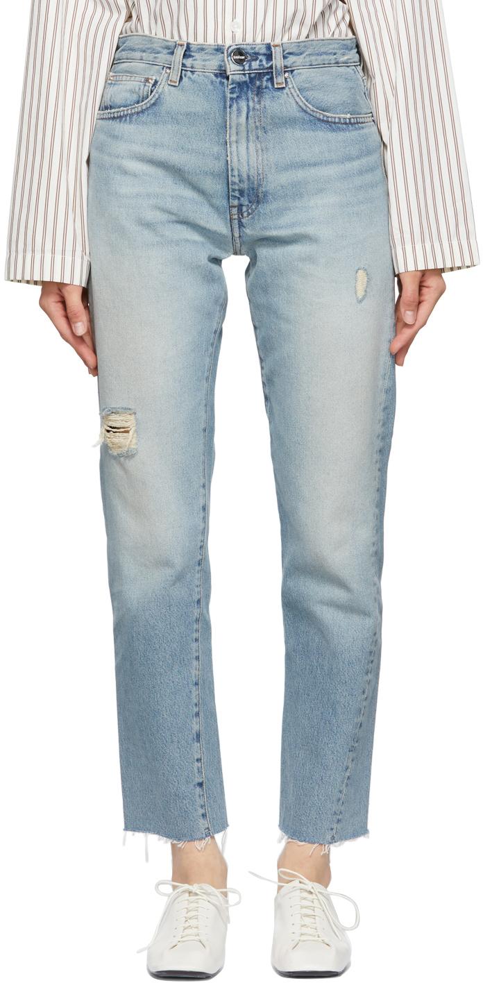Totême Blue Twisted Seam Jeans In 404 Distressed Lt Bl