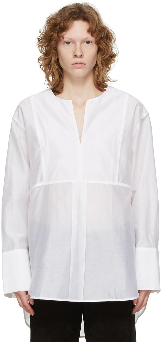 Totême Cotton And Silk-blend Poplin Blouse In White