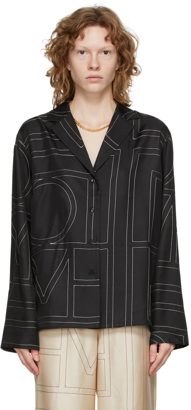 Totême Black Silk Monogram Pj Shirt In 925 Black Monogram