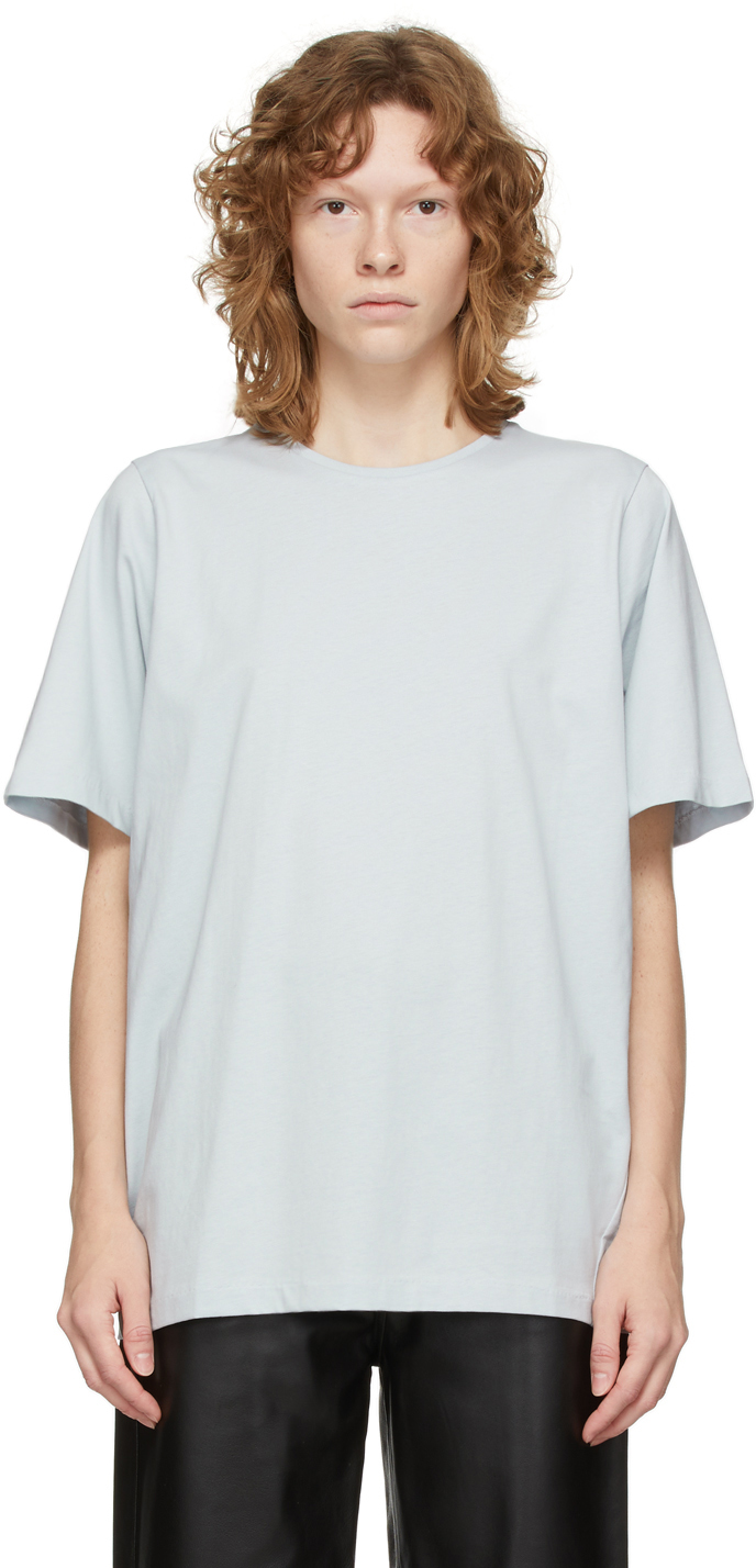 Totême Blue Organic Cotton Oversized T-shirt In 409 Vintage Blue