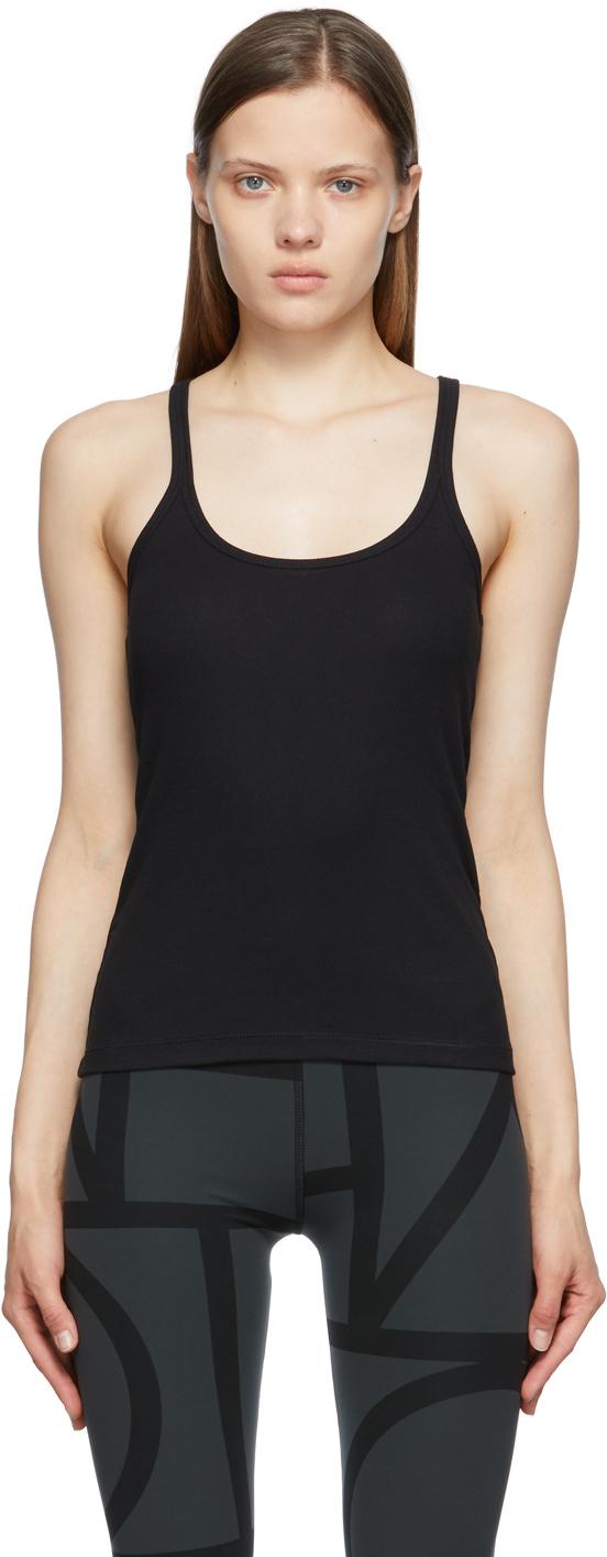 Totême Ribbed Stretch Organic Cotton-jersey Tank In Black