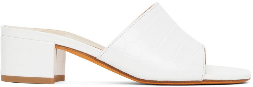 SSENSE Exclusive White Croc Agatha Sandals