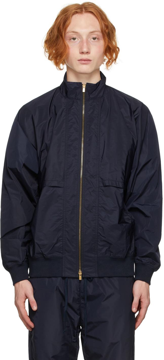 Navy Nylon Track Jacket