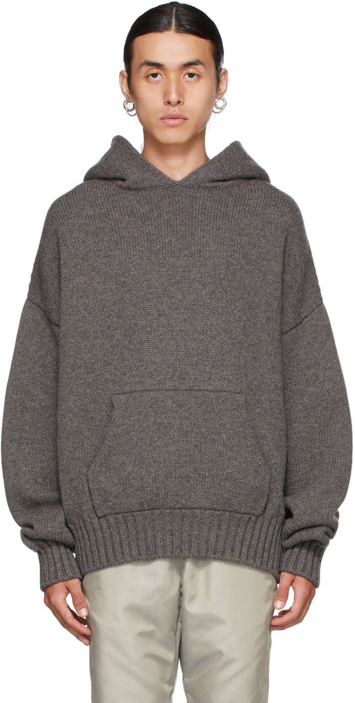 Grey Knit Hoodie
