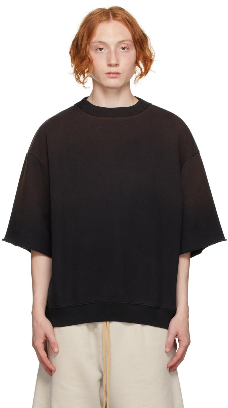 Black Overlapped Three-Quarter-Sleeve Sweatshirt