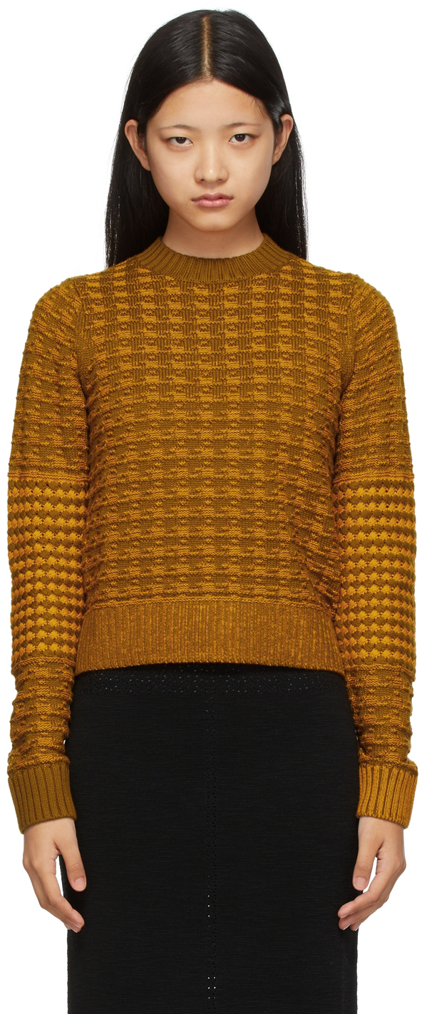 Khaki & Orange Merino Houndstooth Textured Sweater