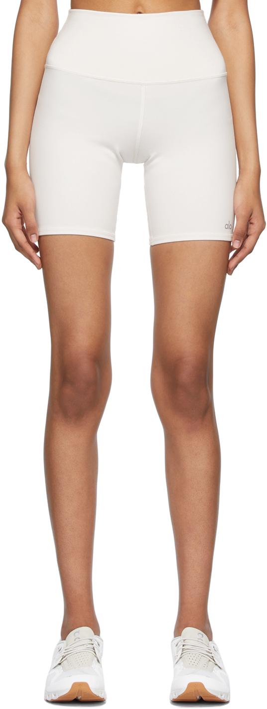 White High-Waist Biker Shorts