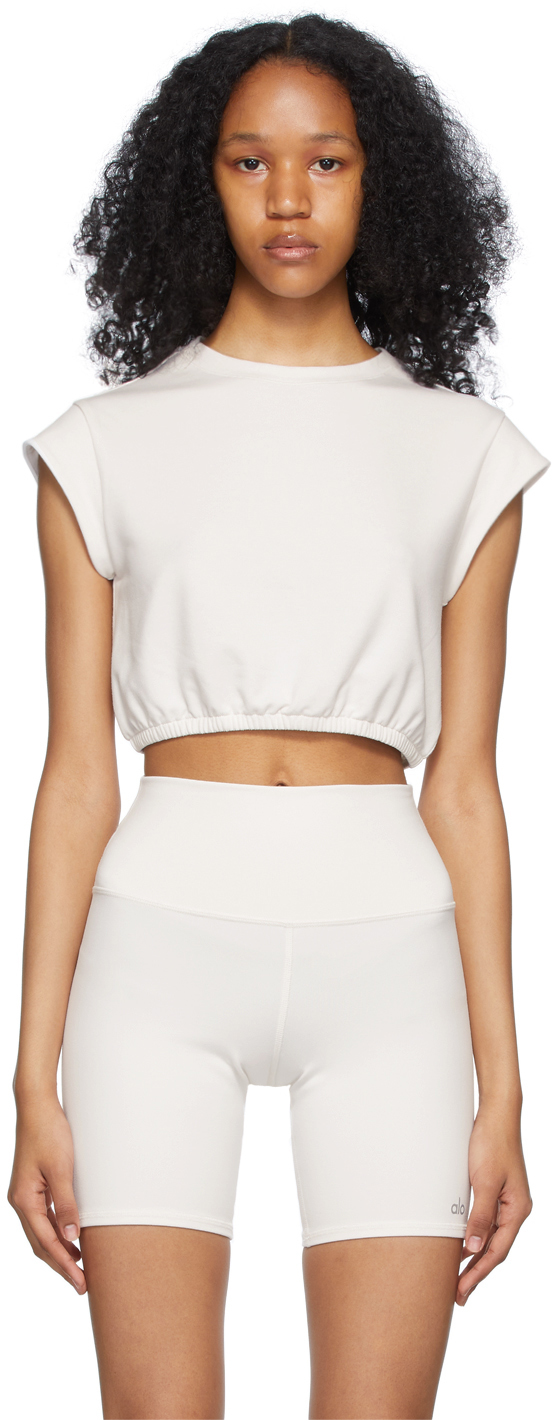 White Dreamy Crop Short Sleeve Sport Top