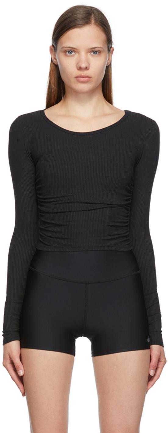Black Gather Long Sleeve Sport Top