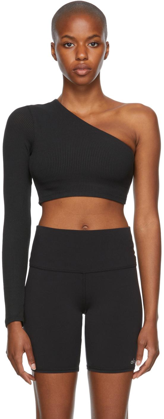 Black Rib Knit Wave Sport Top
