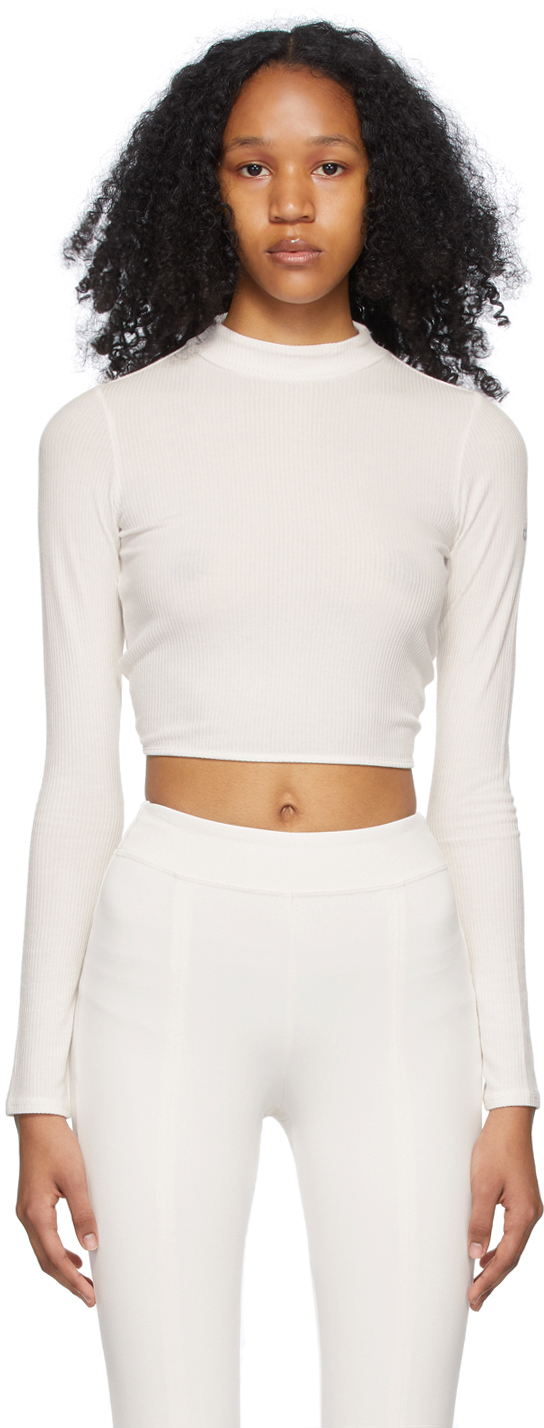 White Ribbed Crop Premier Long Sleeve Sport Top