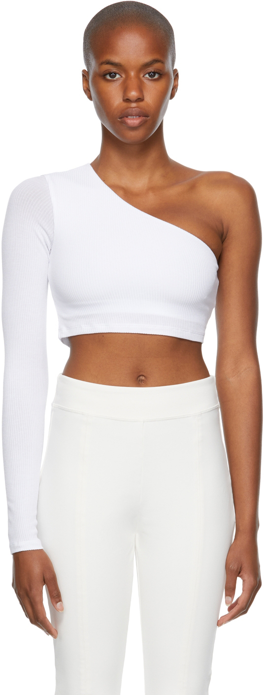 White Ribbed Wave Sport Top