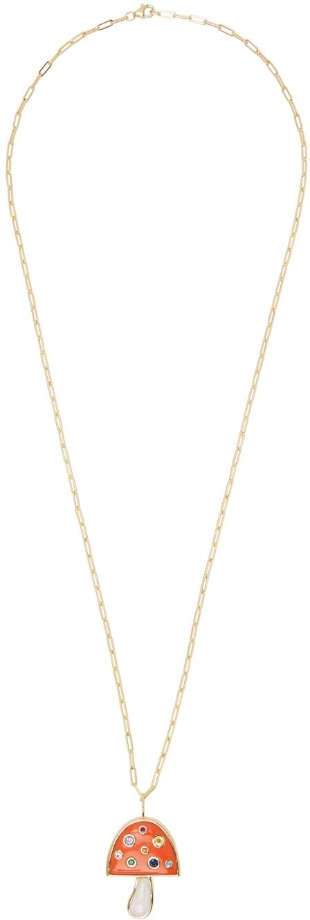 Gold Large Magic Mushroom Necklace