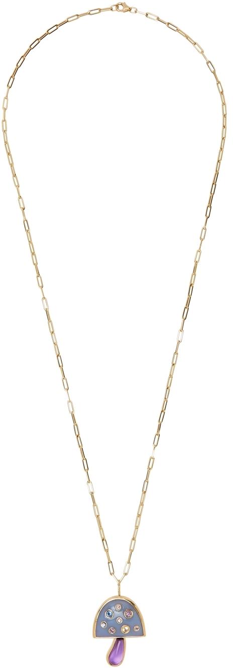 Gold Large Magic Mushrooom Necklace