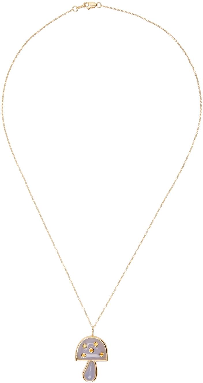 Gold Small Mushroom Pendant Necklace