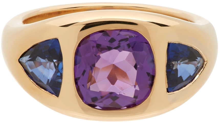Purple Cushion & Trillion Three Stone Ring