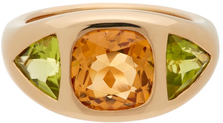 Gold Cushion & Trillion Three Stone Ring