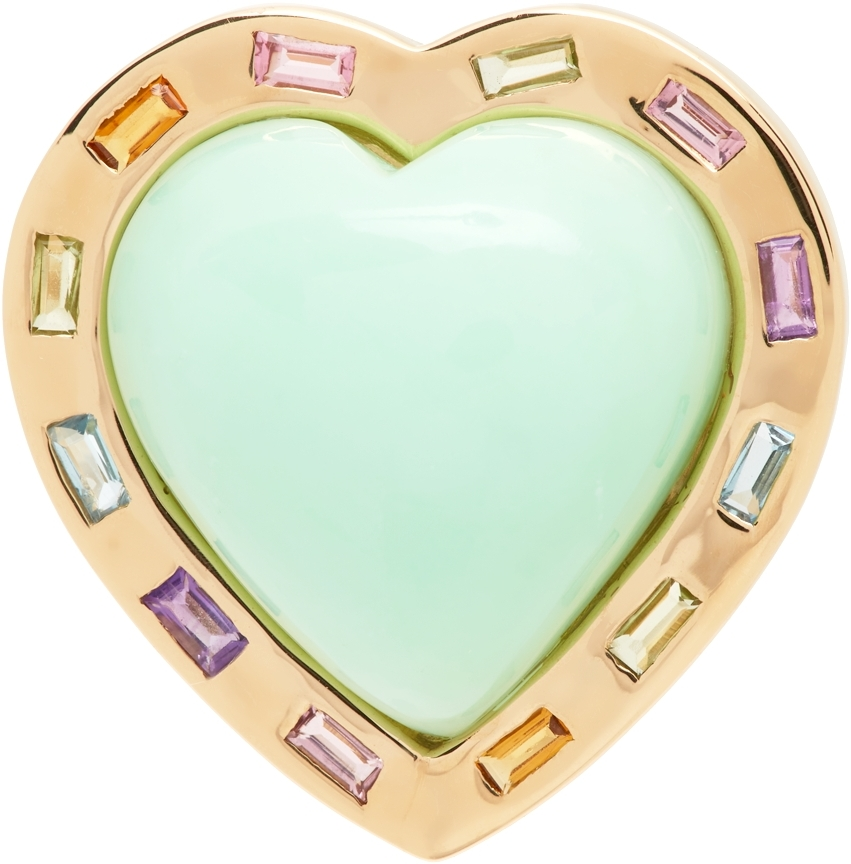 Green & Gold Large Puff Heart Ring