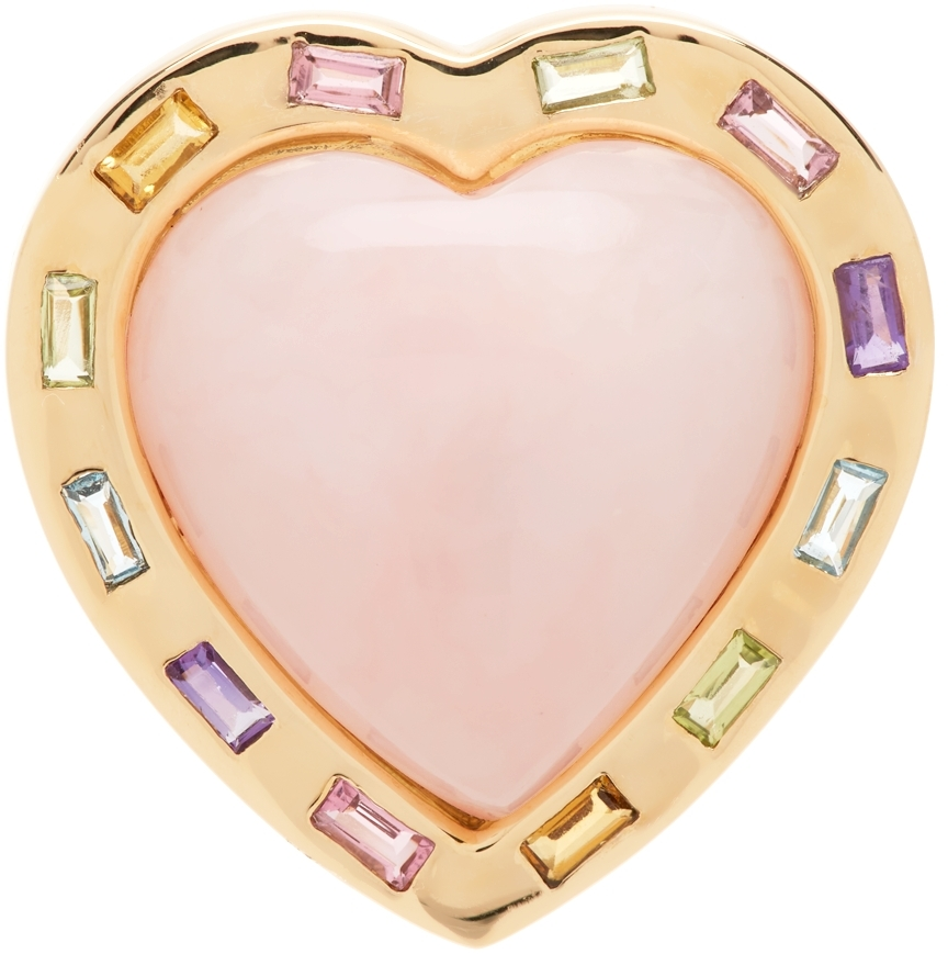 Pink & Gold Large Puff Heart Ring