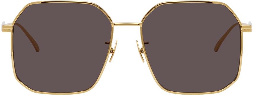 Gold & Black Ribbon Rectangle Sunglasses