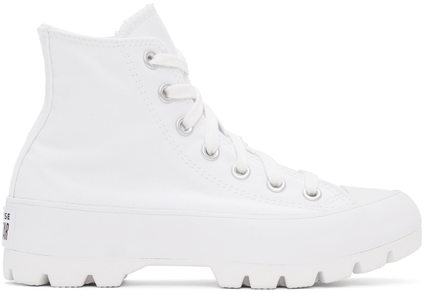 White Lugged Chuck Taylor All Star Hi Sneakers