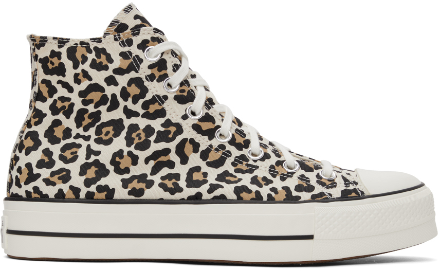 Converse Beige Platform Archive Print All Star High Sneakers