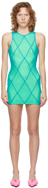 SSENSE Exclusive Blue & Green Diamond Seam Mini Dress