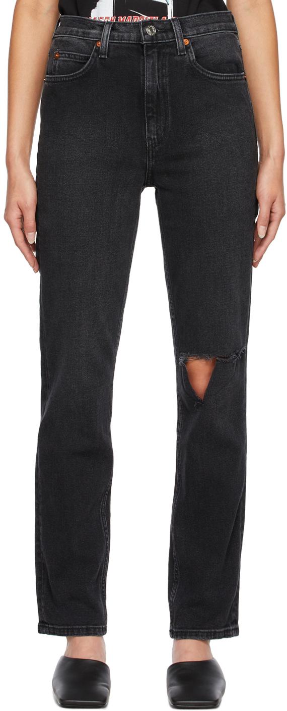 Black 70s Straight Jeans