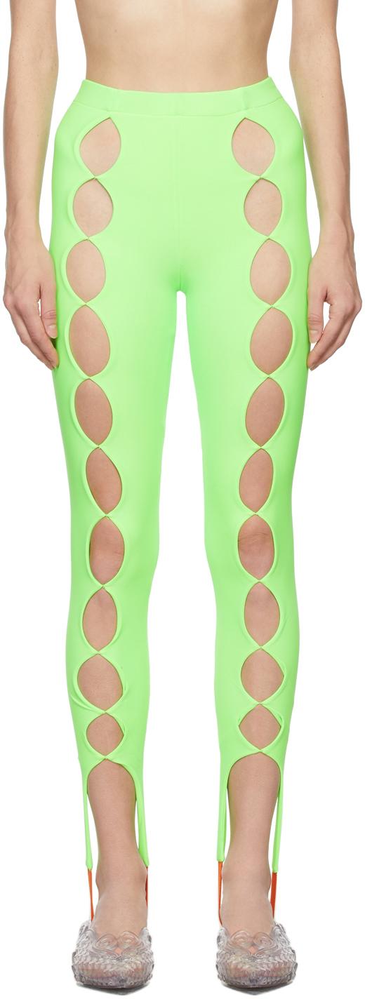 SSENSE Exclusive Green Cut Out Stirrup Leggings
