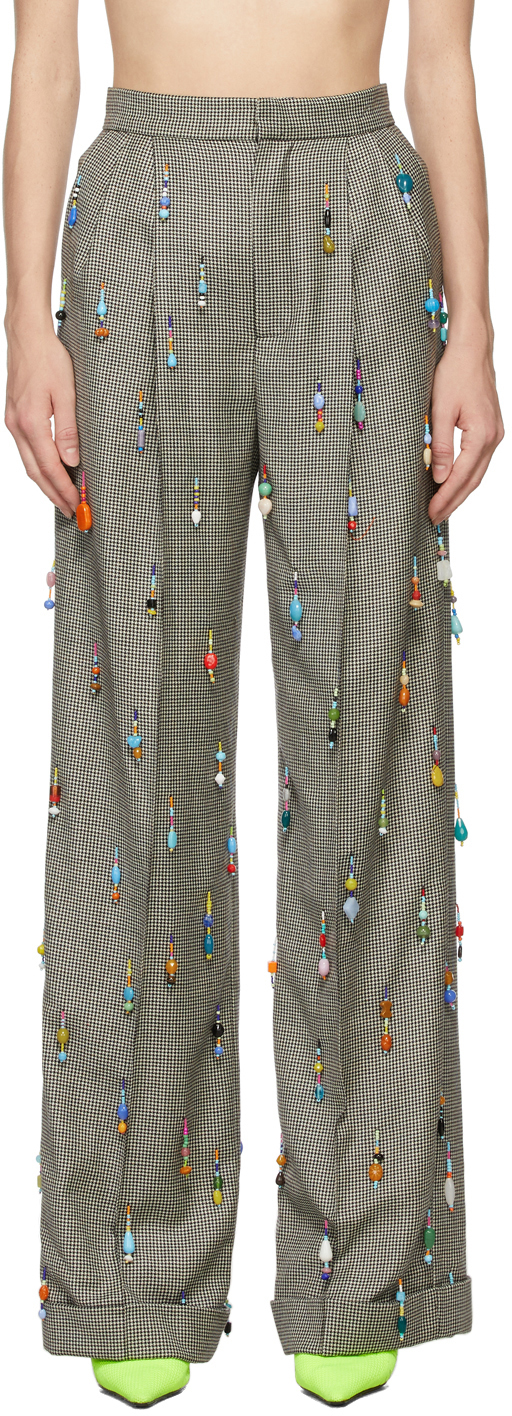 SSENSE Exclusive Black & White Hand-Beaded Trousers