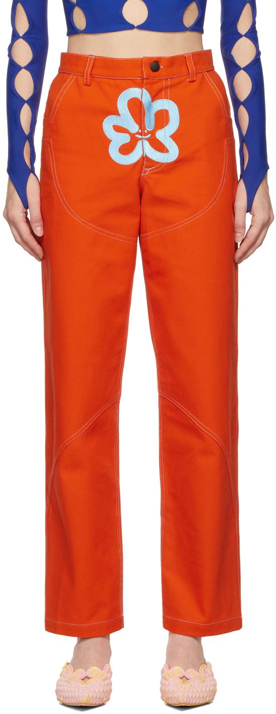 SSENSE Exclusive Orange Logo Work Trousers