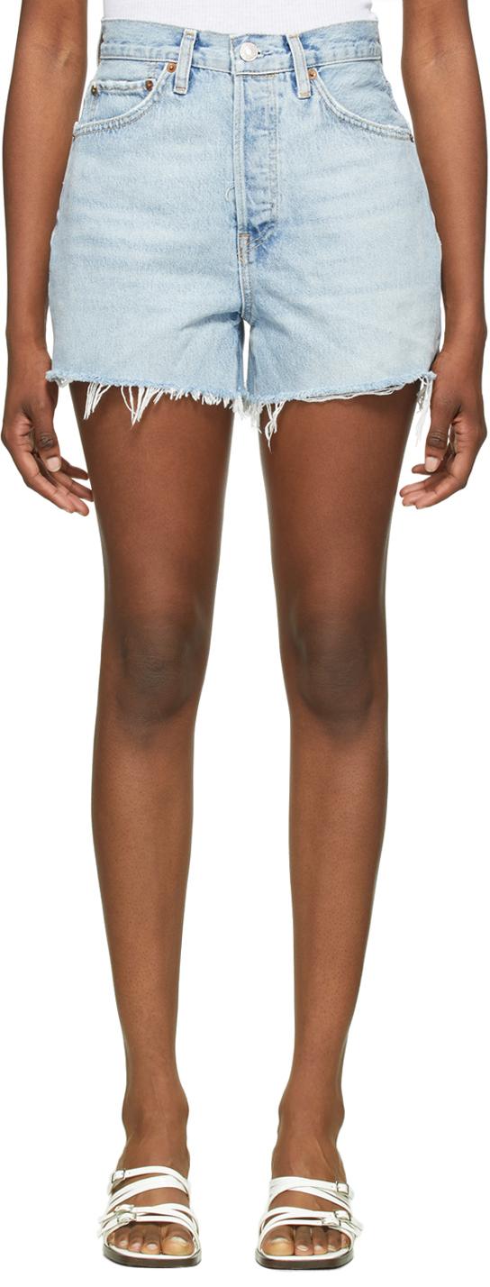 Blue 50s Cutoff Shorts