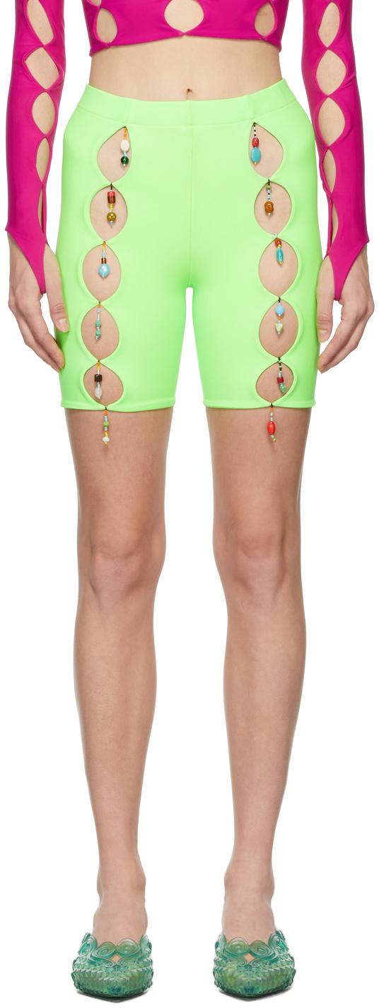 SSENSE Exclusive Green Cut-Out Bike Shorts