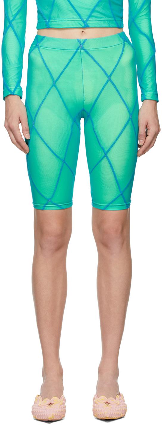 SSENSE Exclusive Blue & Green Diamond Seam Bike Shorts