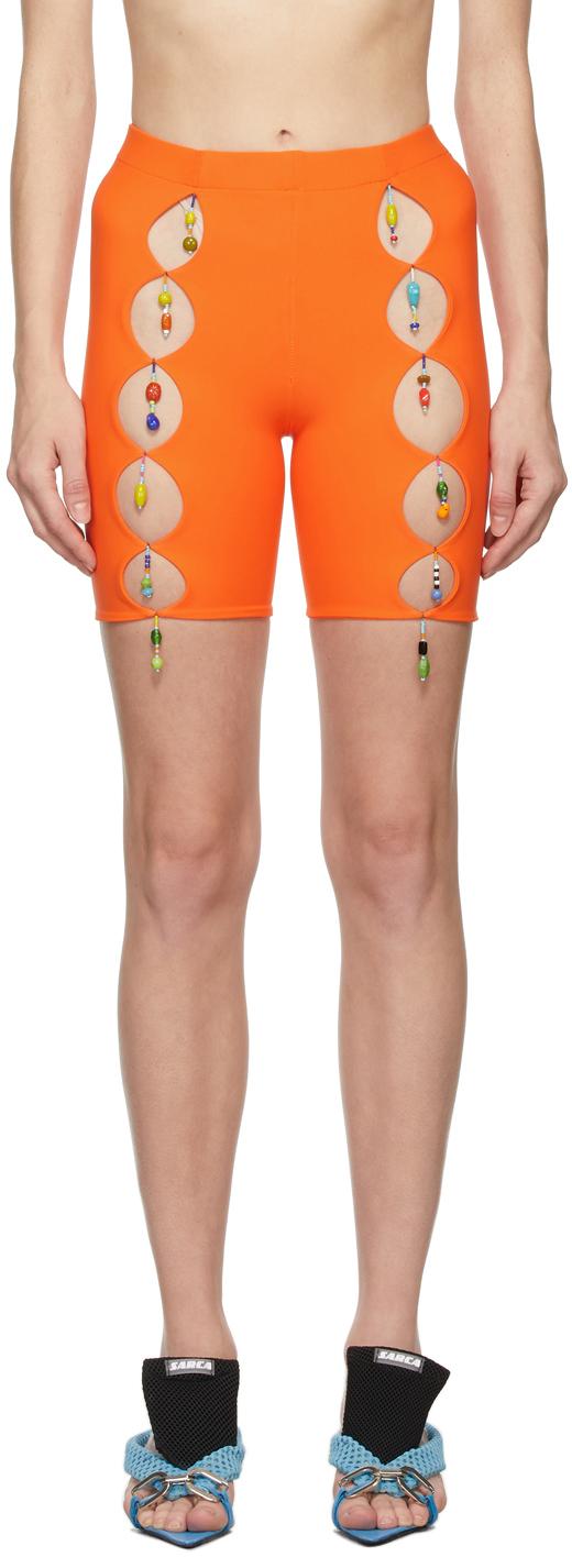 SSENSE Exclusive Orange Bead Cut Out Bike Shorts