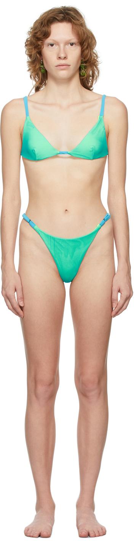 SSENSE Exclusive Blue Contrast Ties Bikini